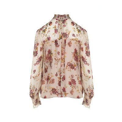 smocking detail flower pattern blouse